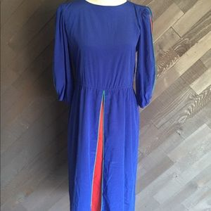 Vintage Blue & Red Midi Dress